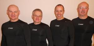 R-wear's base layer tops modeled by Peter Wilson, PJ Wilson, Neil Fyfe and Tom Roche of the 2013 World Seniors Mens team.