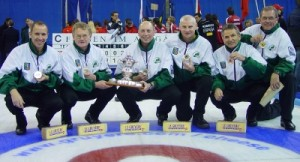 European 'B' Gold medallists 2007 - left to right - Neil Fyfe, PJ Wilson, Robin Gray, Peter Wilson, Tony Teirney and coach Ron Myers.