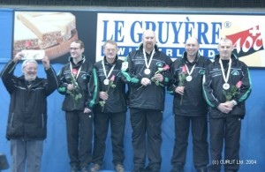 Ireland's first mens international team - John Furey, PJ Wilson, Johnjo Kenny, Robin Gray and Peter Wilson  with coach Gordon McIntyre (left) after winning European B League silver in 2004.