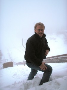 Up the top of a ski jump in Sweden!