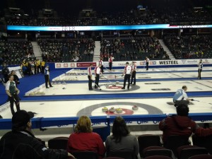 Team Canada discuss their optiona against New Brunswick