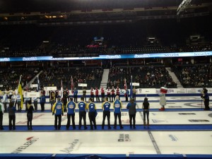 Everyone sings the Canadian National Anthem before each draw