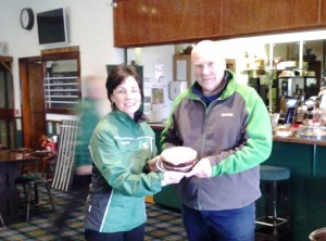 The Pres, the cake and the Big Man at Greenacres on Sunday