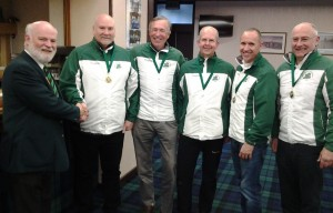 Irish senior champions - Johnjo Kenny, David Hume, David Whyte, Neil Fyfe and Bill Gray.